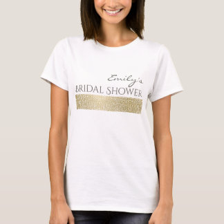 GLAMOROUS GOLD WHITE MOSAIC BRIDAL SHOWER MONOGRAM T-Shirt