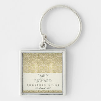 GLAMOROUS GOLD WHITE MOSAIC DOT SAVE THE DATE GIFT KEYCHAIN