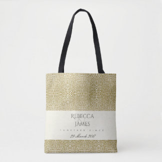 GLAMOROUS GOLD WHITE MOSAIC DOT SAVE THE DATE GIFT TOTE BAG