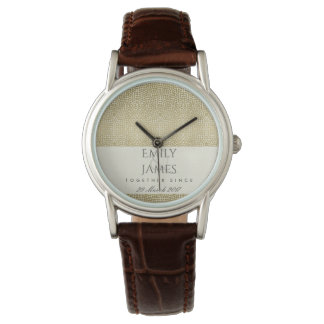 GLAMOROUS GOLD WHITE MOSAIC DOT SAVE THE DATE GIFT WATCH