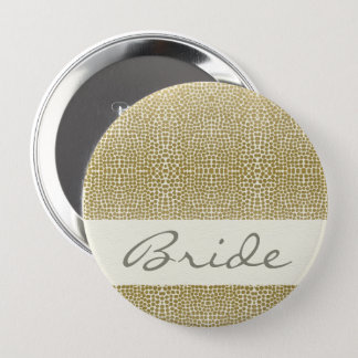 GLAMOROUS GOLD WHITE MOSAIC DOTS BRIDE 4 INCH ROUND BUTTON
