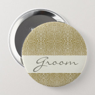 GLAMOROUS GOLD WHITE MOSAIC DOTS GROOM 4 INCH ROUND BUTTON
