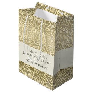 GLAMOROUS GOLD WHITE MOSAIC DOTS MONOGRAM WEDDING MEDIUM GIFT BAG