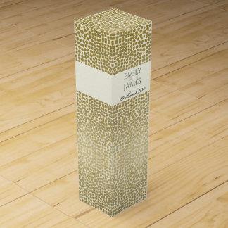 GLAMOROUS GOLD WHITE MOSAIC DOTS PERSONALISED WINE GIFT BOX