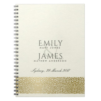 GLAMOROUS GOLD WHITE MOSAIC DOTS WEDDING NOTEBOOKS