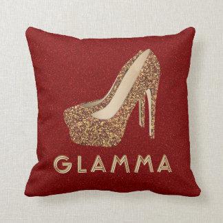 Glamorous Grandma Glamma Gold Glitter High Heels Throw Pillow