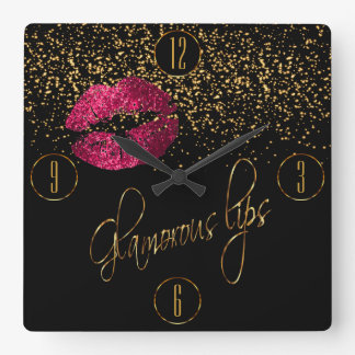 Glamorous Hot Pink Lips and Gold Confetti Square Wall Clock