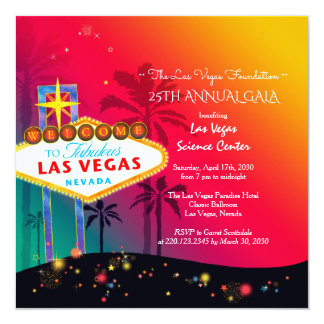 "Glamorous Las Vegas Annual Charity Gala 5.25"" Square Invitation Card"