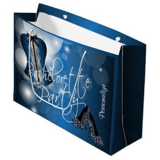 Glamorous Lingerie Bachelorette   Blue Bokeh Large Gift Bag