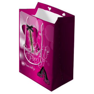 Glamorous Lingerie Bachelorette | Hot Pink Bokeh Medium Gift Bag