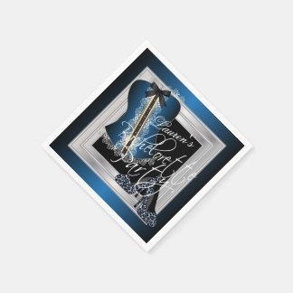 Glamorous Lingerie Bridal Shower   Blue Disposable Napkin