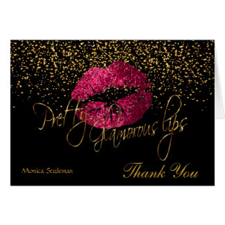 Glamorous Lips Hot Pink Lips on Black Card