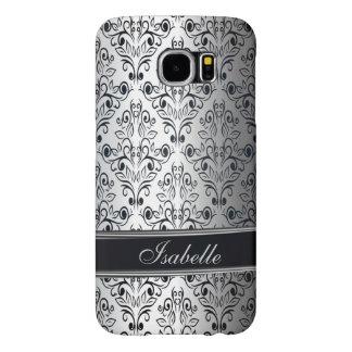 Glamorous luxury silver damask monogram samsung galaxy s6 case