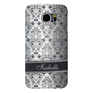 Glamorous luxury silver damask monogram samsung galaxy s6 cases
