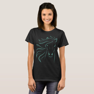Glamorous Mane Horse Pony Art Drawing Outline Teal T-Shirt