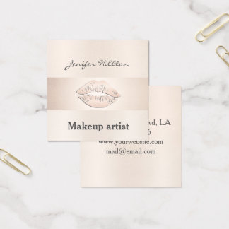 Glamorous modern chic shiny pale pink lips square business card