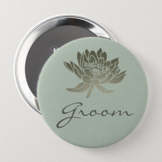 GLAMOROUS PALE BLUE SILVER LOTUS FLORAL GROOM 4 INCH ROUND BUTTON