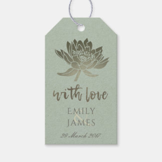 GLAMOROUS PALE BLUE SILVER LOTUS FLORAL  MONOGRAM GIFT TAGS