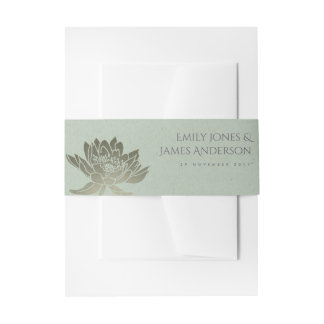 GLAMOROUS PALE BLUE SILVER LOTUS FLORAL MONOGRAM INVITATION BELLY BAND