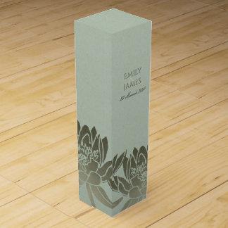 GLAMOROUS PALE BLUE SILVER LOTUS FLORAL MONOGRAM WINE GIFT BOX