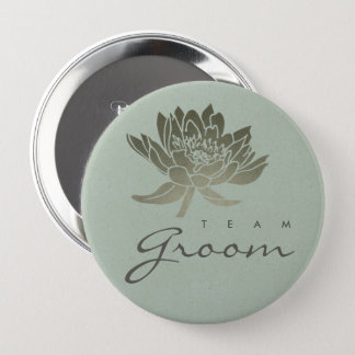 GLAMOROUS PALE BLUE SILVER LOTUS FLORAL TEAM GROOM 4 INCH ROUND BUTTON