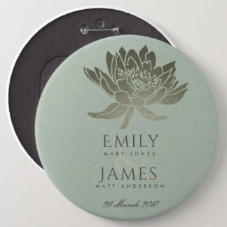 GLAMOROUS PALE BLUE SILVER LOTUS FLORAL WEDDING 6 INCH ROUND BUTTON