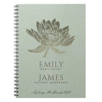 GLAMOROUS PALE BLUE SILVER LOTUS FLORAL WEDDING NOTEBOOK