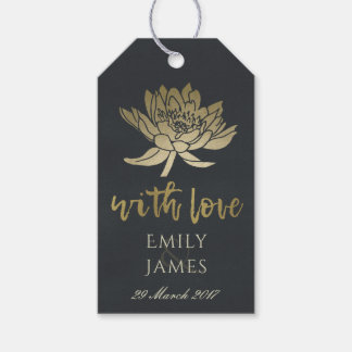 GLAMOROUS PALE GOLD BLACK LOTUS FLORAL  MONOGRAM GIFT TAGS