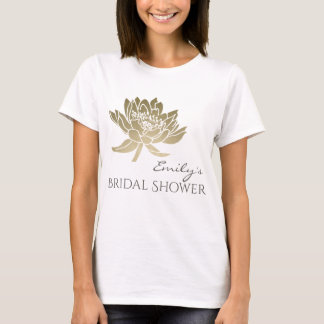 GLAMOROUS PALE GOLD LOTUS BRIDAL SHOWER MONOGRAM T-Shirt