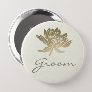 GLAMOROUS PALE GOLD WHITE LOTUS FLORAL GROOM 4 INCH ROUND BUTTON