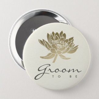 GLAMOROUS PALE GOLD WHITE LOTUS FLORAL GROOM TO BE 4 INCH ROUND BUTTON