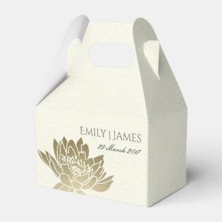 GLAMOROUS PALE GOLD WHITE LOTUS FLORAL MONOGRAM FAVOR BOX