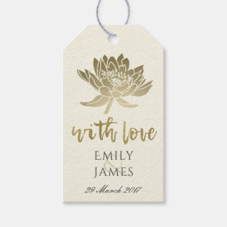 GLAMOROUS PALE GOLD WHITE LOTUS FLORAL  MONOGRAM GIFT TAGS
