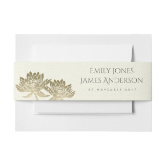 GLAMOROUS PALE GOLD WHITE LOTUS FLORAL MONOGRAM INVITATION BELLY BAND