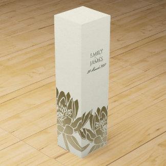 GLAMOROUS PALE GOLD WHITE LOTUS FLORAL MONOGRAM WINE GIFT BOX