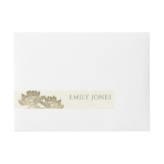 GLAMOROUS PALE GOLD WHITE  LOTUS FLORAL MONOGRAM WRAPAROUND ADDRESS LABEL