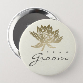 GLAMOROUS PALE GOLD WHITE LOTUS FLORAL TEAM GROOM 4 INCH ROUND BUTTON