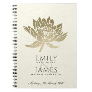 GLAMOROUS PALE GOLD WHITE LOTUS FLORAL WEDDING NOTEBOOK