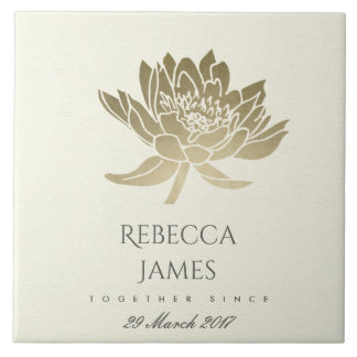 GLAMOROUS PALE GOLD WHITE LOTUS SAVE THE DATE GIFT TILE