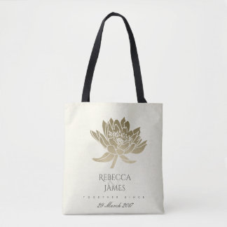 GLAMOROUS PALE GOLD WHITE LOTUS SAVE THE DATE GIFT TOTE BAG