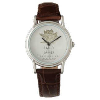 GLAMOROUS PALE GOLD WHITE LOTUS SAVE THE DATE GIFT WATCH