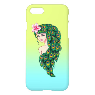 Glamorous Peacock Goddess Art Ombre iPhone 7 Case