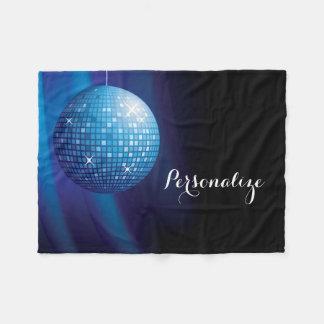 Glamorous Personalized Blue Disco Ball Fleece Blanket