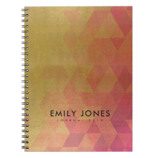 GLAMOROUS PINK GOLD FAUX TRIANGULAR PATTERN NOTEBOOK