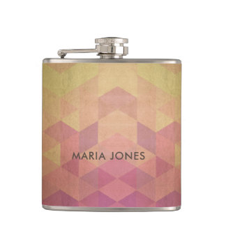 GLAMOROUS PINK PEACH GOLD FAUX TRIANGULAR PATTERN HIP FLASK