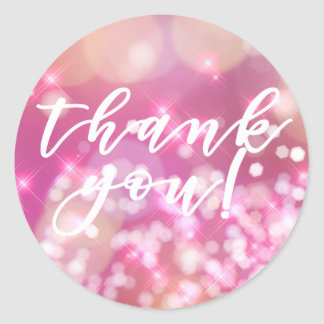 Glamorous Pink Sparkle   Thank you Stickers