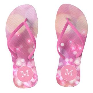 Glamorous pink sparkles Monogram Flip Flops