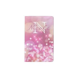 Glamorous Pink Sparkles Monogram Moleskin Notebook
