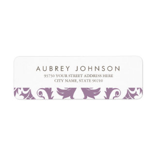Glamorous Purple Damask Address Labels