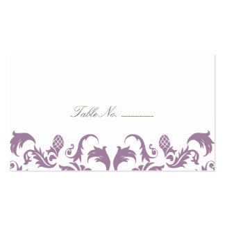 Glamorous Purple Damask Guest Table Escort Cards Pack Of Standard Business Cards